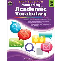 Know The Lingo Gr 5 Mastering Academic Vocabulary, TCR8135