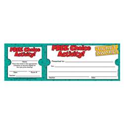 Free Choice Activity Ticket Awards By Teachers Friend