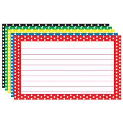 Border Index Cards 3X5 Polka Dot Lined - Top3667 By Top Notch Teacher Products