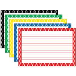 Border Index Cards 4X6 Polka Dot Lined - Top3669 By Top Notch Teacher Products