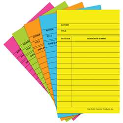 Library Cards Brite Assorted 50/Box - Top368 By Top Notch Teacher Products