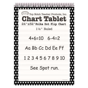 Polka Dot Chart Tablet Black 1.5 Ruled - Top3849 By Top Notch Teacher Products