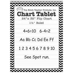 "Black Chevron Border Chart Tablet 24X32 1 1/2"" Ru, TOP3855"