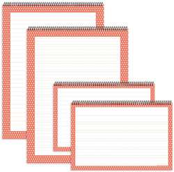Coral Polka Dot Chart Tablets 4Pk, TOP3884