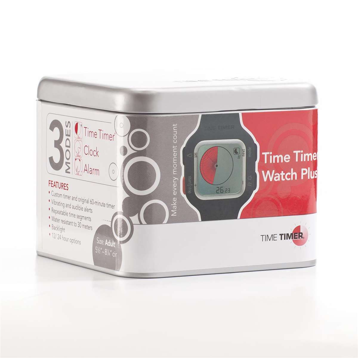 Time Timer Watch Plus Lg Charcoal - TTMTTW8AW