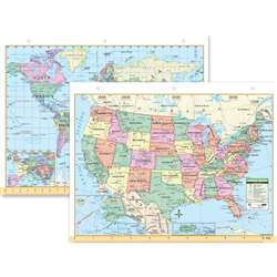 Us & World Notebook Map 8-1/2 X 11 - Uni15024 By Kappa Map Group / Universal Maps