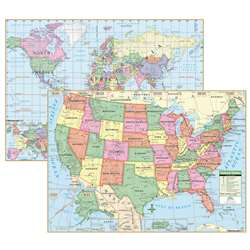 Us & World Primary Deskpad Maps 5Pk - Uni15848 By Kappa Map Group / Universal Maps