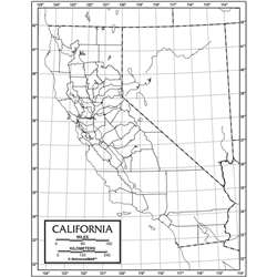 Outline Map Paper California, UNI21172