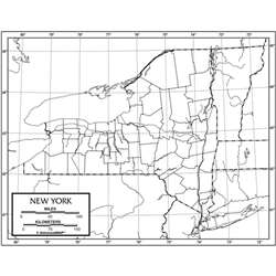 Outline Map Laminated New York, UNI21254