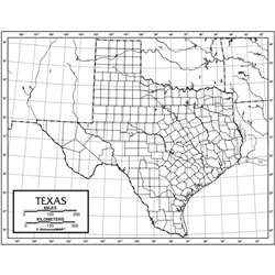 Outline Map Laminated Texas, UNI21265