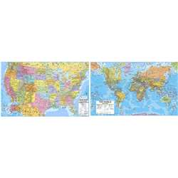 "Us/World Advanced Politcal Laminated Rolled Map Set, 50"" X 38"" - Uni2982227 By Universal Map Group"
