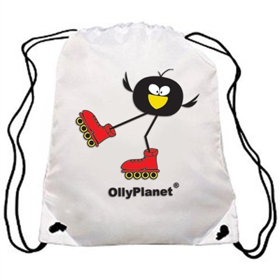 OllyPlanet's famous Olly Rollers design on a backpack! Perfect drawstring bag for kids of all ages!
