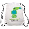 This green toucan drawstring bag is available for purchase online and is perfect for kids of all ages!