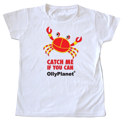 Catch Me if You Can - Red Crab Tee for Kids! A great t-shirt for kids that love the beach and the ocean!