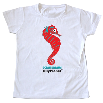 This red seahorse design is perfect for the toddler learning about colors and the ocean!