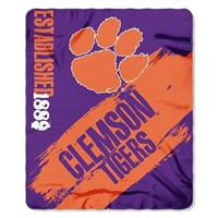 "Clemson Tigers 50""x60"" Painted Fleece Throw"