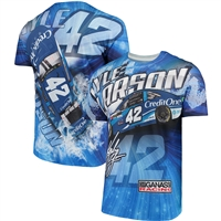 Kyle Larson #42 Credit One Bank Prism Sublimated Dry Fit Adult T-Shirt - Size Large