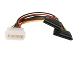 "WholesaleCables.com 11W3-S6800-6IN  5.25"" Male To SATA 15-Pin Female X 2 DC Power Adapter Y Cable"