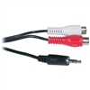 WholesaleCables.com 10A1-12206 6ft 3.5mm Stereo to Female RCA Cable 1 Male 3.5mm 2 Female RCA