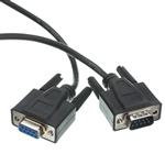 WholesaleCables.com 10D1-03203BK 3ft Serial Extension Cable Black DB9 Male to DB9 Female RS-232 UL rated 9 Conductor 1:1