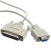 10D1-21303 3ft Null Modem Cable DB9 Female to DB25 Male UL rated 8 Conductor