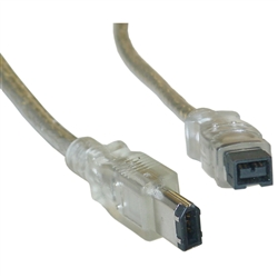 WholesaleCables.com 10E3-96006 6ft Firewire 400 9 Pin to 6 Pin Cable Clear IEEE-1394a