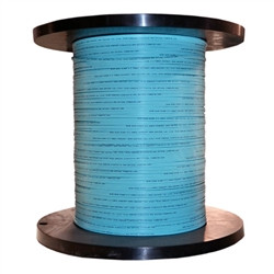 WholesaleCables.com 10F2-302NH 1000ft 2 Fiber Indoor Distribution Fiber Optic Cable Multimode 50/125 OM3 10 Gbit Aqua Riser Rated Spool