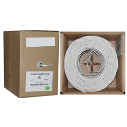WholesaleCables.com 10G2-491SF 500ft Speaker Cable White Pure Copper CM / Inwall rated 16/4 (16 AWG 4 Conductor) 65 Strand / 0.16mm Pullbox