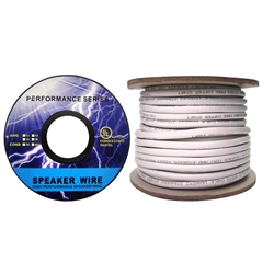 WholesaleCables.com 10G3-49150 50ft Speaker Cable White Pure Copper CM / Inwall rated 14/4 (14 AWG 4 Conductor) 105 Strand / 0.16mm Spool