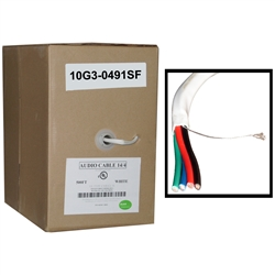 WholesaleCables.com 10G3-491SF 500ft Speaker Cable White Pure Copper CM / Inwall rated 14/4 (14 AWG 4 Conductor) 105 Strand / 0.16mm Pullbox