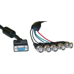 WholesaleCables.com 10H1-18110BK 10ft SVGA (HD15 Male) to BNC (5 Male) Monitor Breakout Cable Black Double Shielded