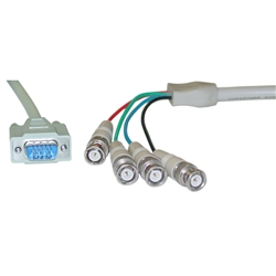 WholesaleCables.com 10H1-19106 6ft SVGA (HD15 Male) to BNC (4 Male) Monitor Breakout Cable