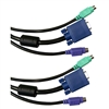 10H1-30110BK 10ft KVM Cable Black SVGA and 2 PS/2 HD15 Male and 2 x MiniDin6 Male