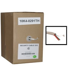 10K4-0291TH-GRAY 1000ft  Security/Alarm Wire White 22/2 (22AWG 2 Conductor) Solid CM / Inwall rated Pullbox