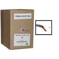 WholesaleCables.com 10K4-5221SH 1000ft Shielded Security/Alarm Wire Gray 22/2 (22AWG 2 Conductor) Stranded CM / Inwall rated Pullbox