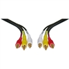 WholesaleCables.com 10R3-01112 12ft Stereo/VCR RCA Cable 2 RCA (Audio) + RCA RG59 Video Gold-plated Connectors