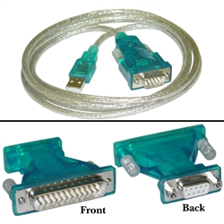 WholesaleCables.com 10U1-16106 6ft USB to Serial Adapter Cable with DB9 Female to DB25 Male Adapter USB Type A Male to DB9/DB25 Male