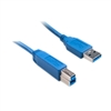 WholesaleCables.com 10U3-02210 10ft USB 3.0 Printer / Device Cable Blue Type A Male to Type B Male
