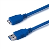 WholesaleCables.com 10U3-03110 10ft Micro USB 3.0 Cable Blue Type A Male to Micro-B Male