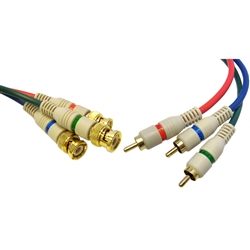 WholesaleCables.com 10V2-25206 6ft High Quality Component Video RCA to BNC Component Conversion Cable 3 RCA Male to 3 BNC Male