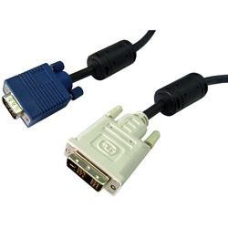 WholesaleCables.com 10V4-05305BK 5meter 16.5ft DVI-A to VGA Cable (Analog) Black DVI-A Male to HD15 Male