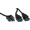 WholesaleCables.com 10W1-01206Y 6ft Computer / Monitor Power Y Cord Black NEMA 5-15P to Dual C13 10 Amp UL/CSA rated