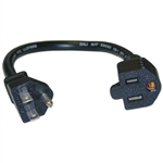 WholesaleCables.com 10W1-04201-16 1ft Power Extension Cord Black NEMA 5-15P to NEMA 5-15R 13 Amp 16 AWG 10 Amp UL/CSA rated
