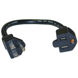 WholesaleCables.com 10W1-04201 1ft Power Extension Cord Black NEMA 5-15P to NEMA 5-15R 10 Amp UL/CSA rated