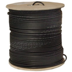 WholesaleCables.com 10X1-022MH 1000ft Bulk RG58/AU Coaxial Cable Black 20 AWG Copper Stranded Center Conductor Braided Shield Spool