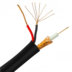 WholesaleCables.com 10X3-18222TF 500ft Bulk RG59 Siamese Coaxial/Power Cable Black Solid Core (Copper) Coax 18/2 (18 AWG 2 Conductor) Stranded Copper Power Pullbox