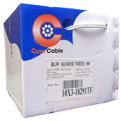 WholesaleCables.com 10X3-18291TF 500ft Bulk RG59 Siamese Coaxial/Power Cable White Solid Core (Copper) Coax 18/2 (18 AWG 2 Conductor) Stranded Copper Power Pullbox