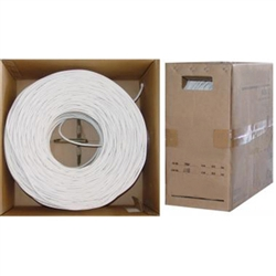 WholesaleCables.com 10X4-191TH 1000ft Quad Shielded Bulk RG6 Coaxial Cable White 18 AWG Solid Core Pullbox