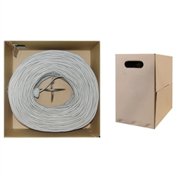 WholesaleCables.com 10X6-021TH 1000ft Bulk Cat5e Gray Ethernet Cable Solid UTP  Pullbox