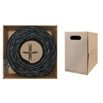 WholesaleCables.com 10X6-022TH 1000ft Bulk Cat5e Black Ethernet Cable Solid UTP Pullbox